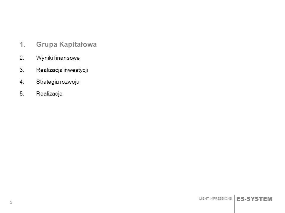 ES-SYSTEM LIGHT IMPRESSIONS 2 1.Grupa Kapitałowa 2.Wyniki finansowe 3.Realizacja inwestycji 4.Strategia rozwoju 5.Realizacje