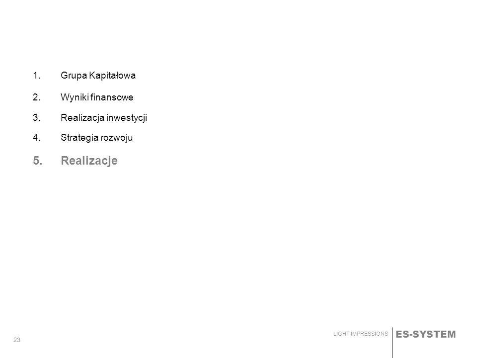ES-SYSTEM LIGHT IMPRESSIONS 23 1.Grupa Kapitałowa 2.Wyniki finansowe 3.Realizacja inwestycji 4.Strategia rozwoju 5.Realizacje