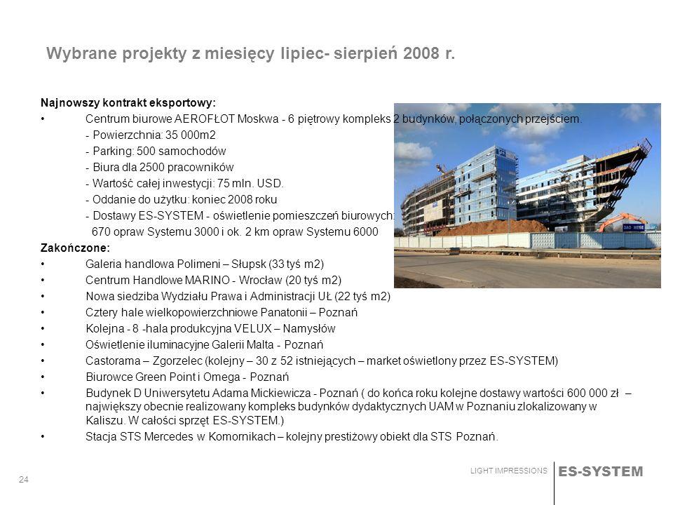 ES-SYSTEM LIGHT IMPRESSIONS 24 Wybrane projekty z miesięcy lipiec- sierpień 2008 r. Najnowszy kontrakt eksportowy: Centrum biurowe AEROFŁOT Moskwa - 6