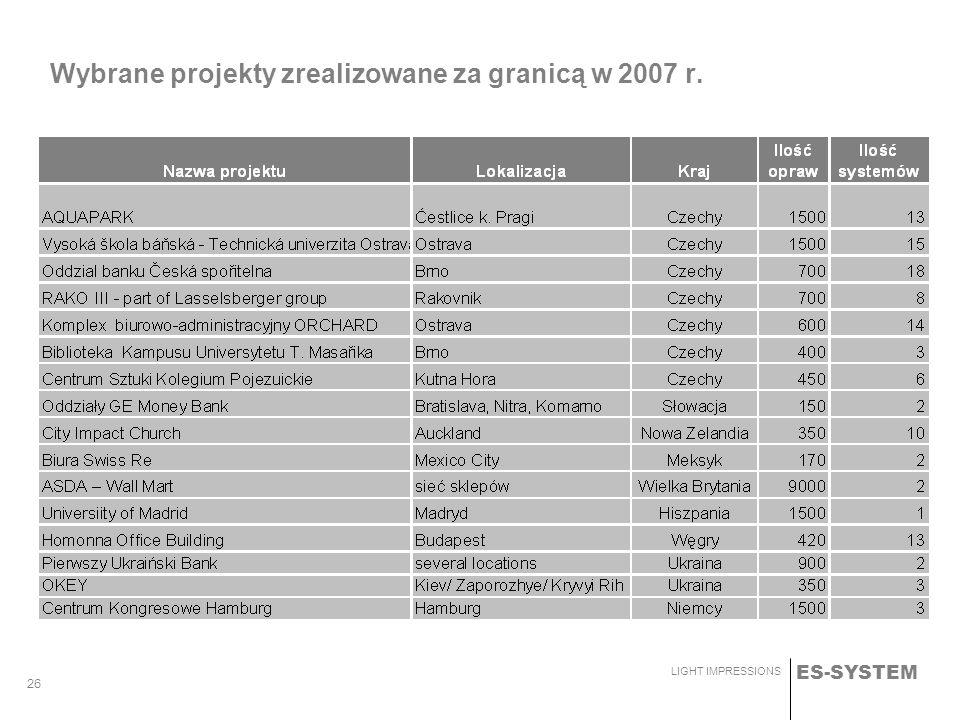 ES-SYSTEM LIGHT IMPRESSIONS 26 Wybrane projekty zrealizowane za granicą w 2007 r.