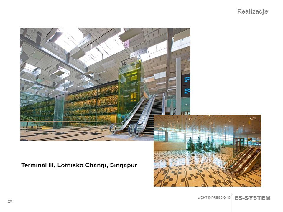ES-SYSTEM LIGHT IMPRESSIONS 29 Realizacje Terminal III, Lotnisko Changi, Singapur