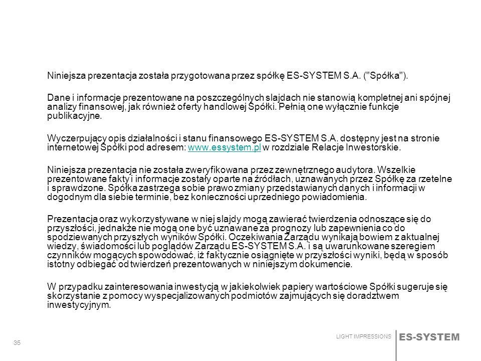 ES-SYSTEM LIGHT IMPRESSIONS 35 Niniejsza prezentacja została przygotowana przez spółkę ES-SYSTEM S.A. (