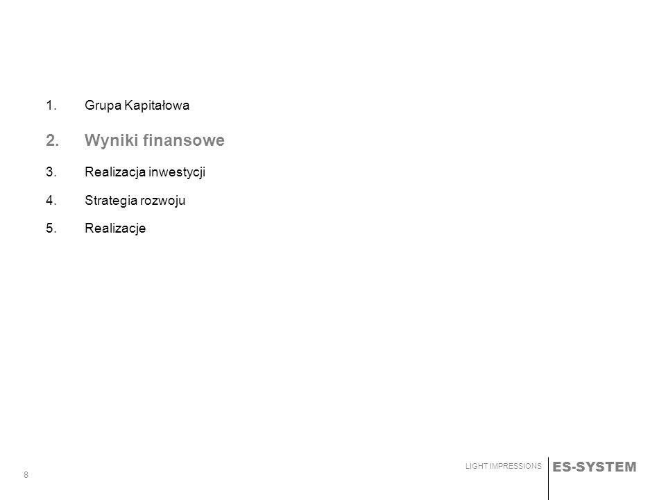 ES-SYSTEM LIGHT IMPRESSIONS 8 1.Grupa Kapitałowa 2.Wyniki finansowe 3.Realizacja inwestycji 4.Strategia rozwoju 5.Realizacje