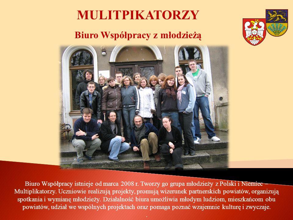 MULITPIKATORZY Biuro Współpracy z młodzieżą Biuro Współpracy istnieje od marca 2008 r. Tworzy go grupa młodzieży z Polski i Niemiec – Multiplikatorzy.