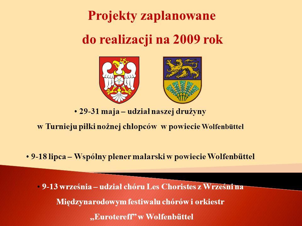 Projekty zaplanowane do realizacji na 2009 rok 29-31 maja – udział naszej drużyny w Turnieju piłki nożnej chłopców w powiecie Wolfenbüttel 9-18 lipca