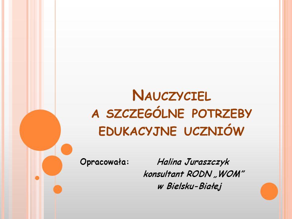 N AUCZYCIEL A SZCZEGÓLNE POTRZEBY EDUKACYJNE UCZNIÓW Opracowała: Halina Juraszczyk konsultant RODN WOM w Bielsku-Białej