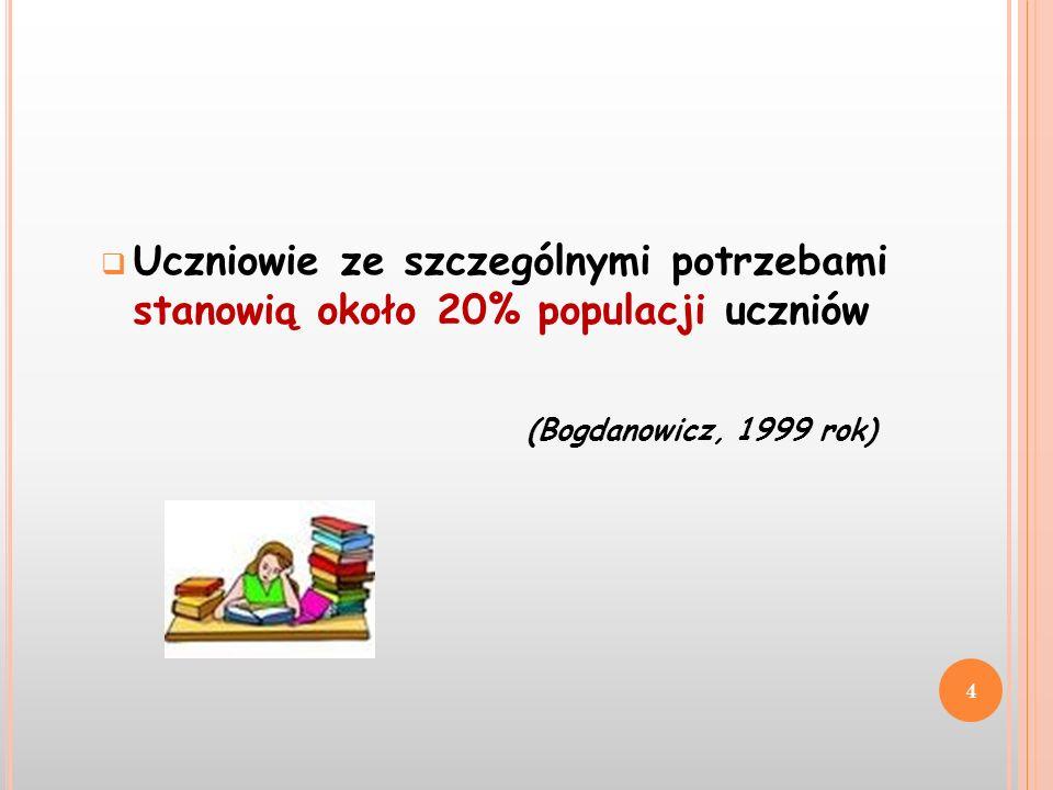 Uczniowie ze szczególnymi potrzebami stanowią około 20% populacji uczniów (Bogdanowicz, 1999 rok) 4