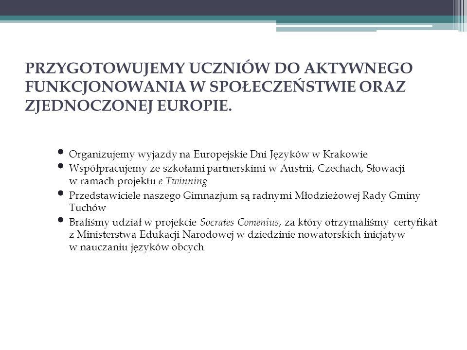PRZYGOTOWUJEMY UCZNIÓW DO AKTYWNEGO FUNKCJONOWANIA W SPOŁECZEŃSTWIE ORAZ ZJEDNOCZONEJ EUROPIE. Organizujemy wyjazdy na Europejskie Dni Języków w Krako
