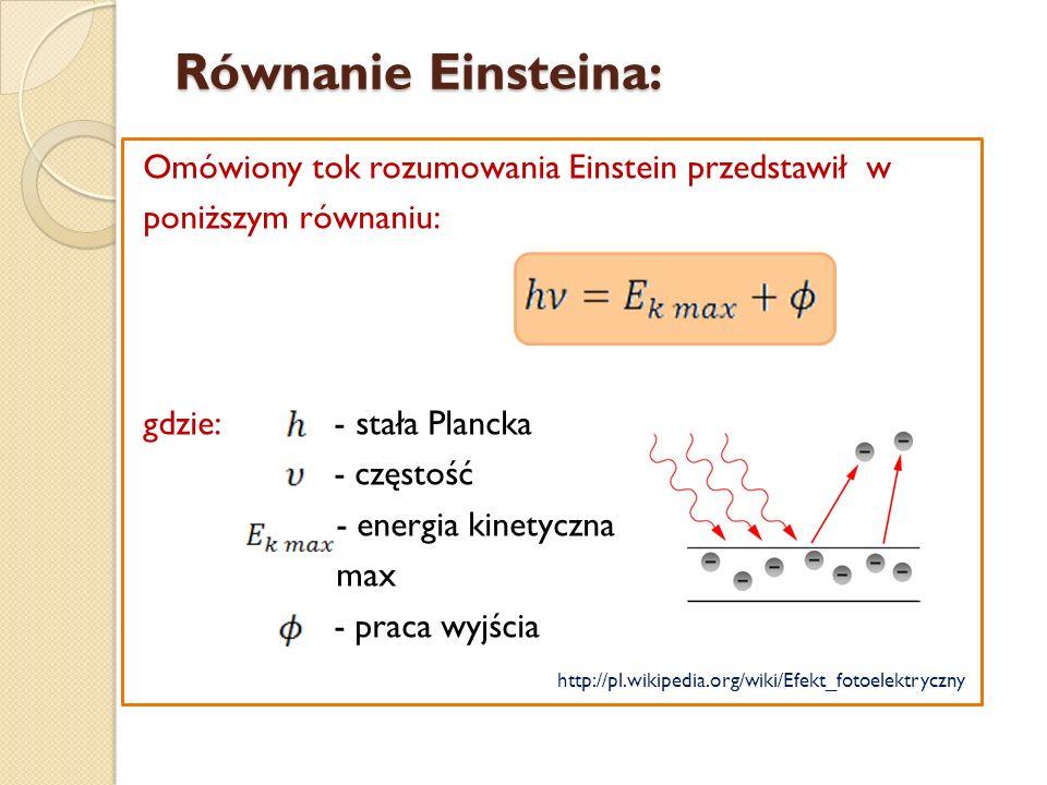Równanie Einsteina: Omówiony tok rozumowania Einstein przedstawił w poniższym równaniu: gdzie: - stała Plancka - częstość - energia kinetyczna max - p