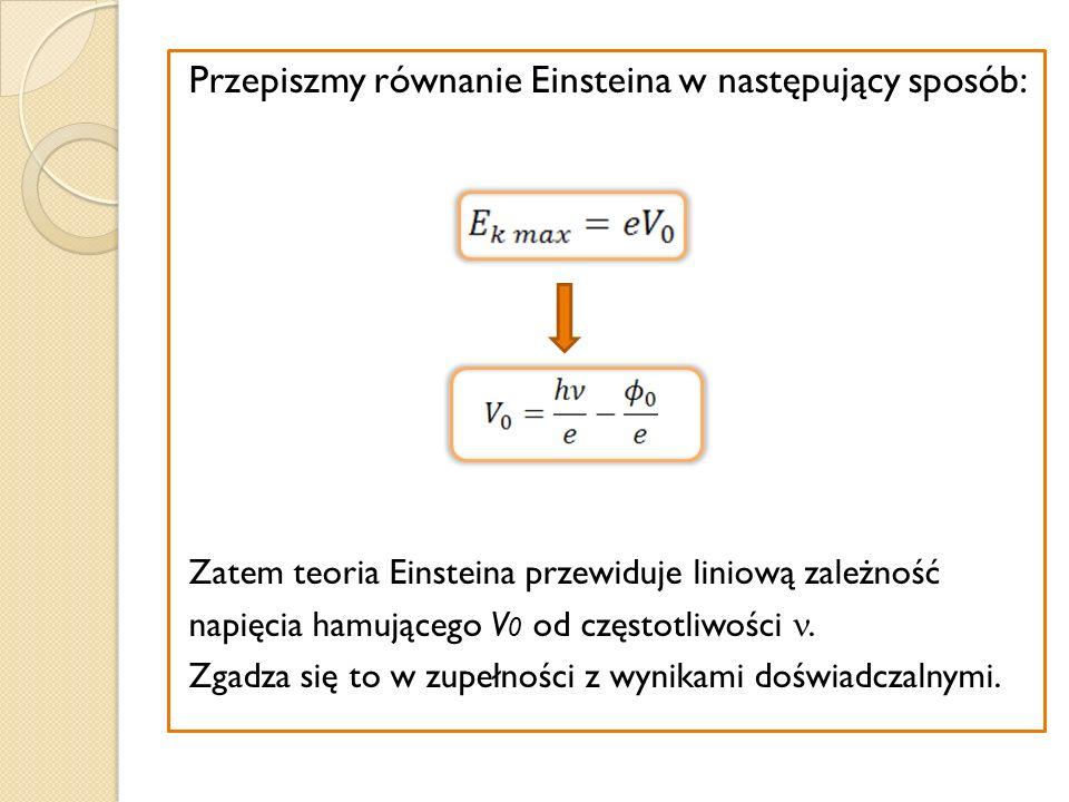 Przepiszmy równanie Einsteina w następujący sposób: Zatem teoria Einsteina przewiduje liniową zależność napięcia hamującego V 0 od częstotliwości. Zga