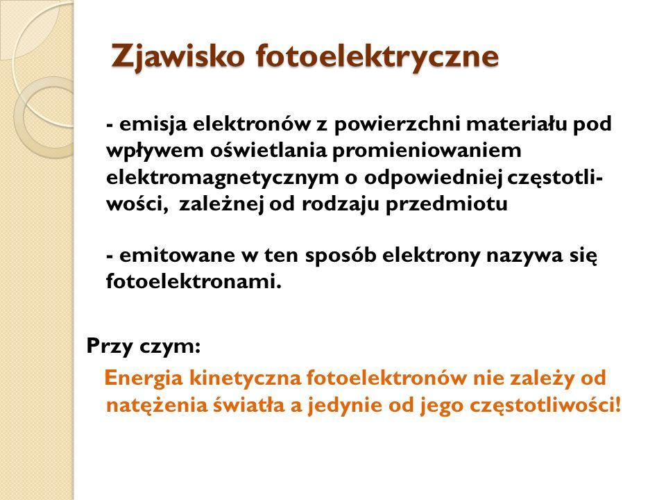 Zjawisko fotoelektryczne - emisja elektronów z powierzchni materiału pod wpływem oświetlania promieniowaniem elektromagnetycznym o odpowiedniej często