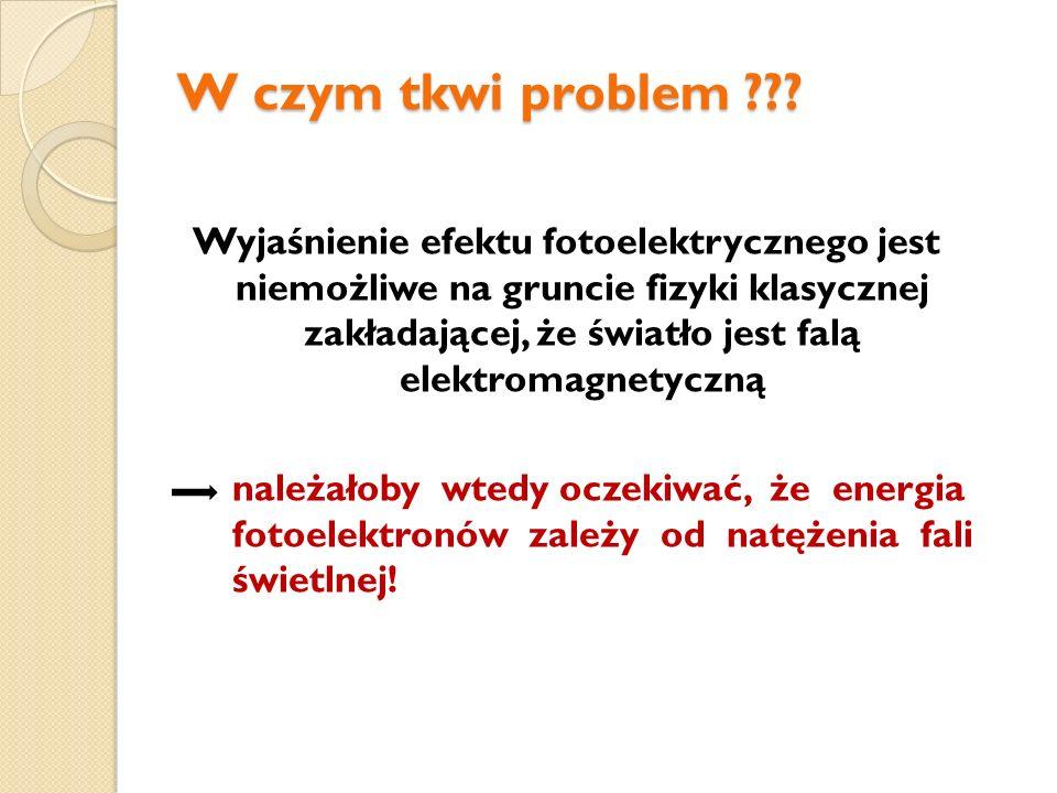 W czym tkwi problem ??? Wyjaśnienie efektu fotoelektrycznego jest niemożliwe na gruncie fizyki klasycznej zakładającej, że światło jest falą elektroma