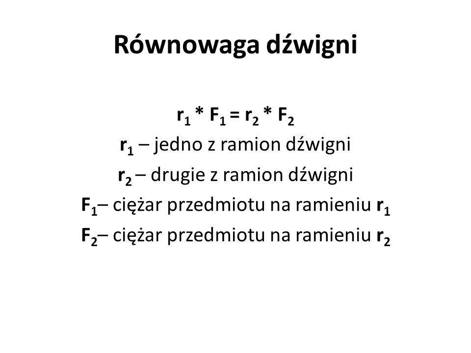 Równowaga dźwigni r 1 * F 1 = r 2 * F 2 r 1 – jedno z ramion dźwigni r 2 – drugie z ramion dźwigni F 1 – ciężar przedmiotu na ramieniu r 1 F 2 – cięża