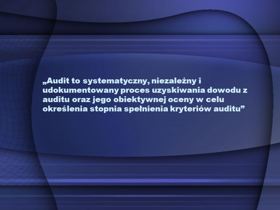 Audit to systematyczny, niezależny i udokumentowany proces uzyskiwania dowodu z auditu oraz jego obiektywnej oceny w celu określenia stopnia spełnieni