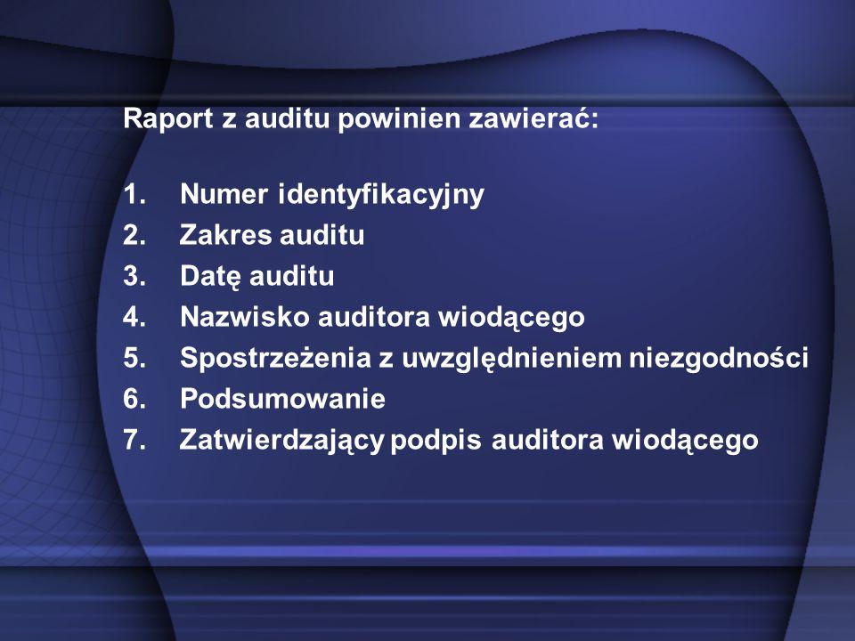 Raport z auditu powinien zawierać: 1.Numer identyfikacyjny 2.Zakres auditu 3.Datę auditu 4.Nazwisko auditora wiodącego 5.Spostrzeżenia z uwzględnienie