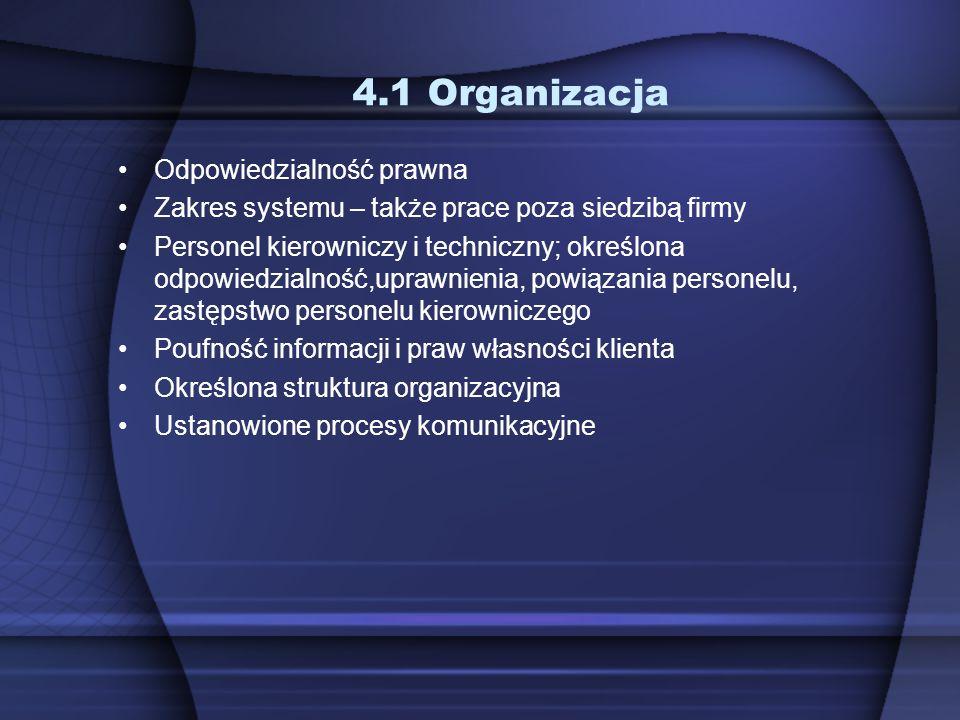 4.1 Organizacja Odpowiedzialność prawna Zakres systemu – także prace poza siedzibą firmy Personel kierowniczy i techniczny; określona odpowiedzialność