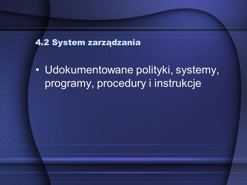 4.3 Nadzór nad dokumentami 1.Należy ustanowić procedury nadzorowania dokumentów, także nieaktualnych 2.Dokumenty muszą być zatwierdzone do stosowania (przez kierownictwo), przeglądane, aktualizowane, dostępne i czytelne 3.Dokumenty muszą być jednoznacznie zidentyfikowane 4.Procedura powinna określać zasady dokonywania zmian dokumentów (także w systemach skomputeryzowanych)