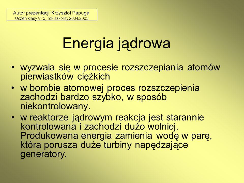 Energia jądrowa wyzwala się w procesie rozszczepiania atomów pierwiastków ciężkich w bombie atomowej proces rozszczepienia zachodzi bardzo szybko, w s