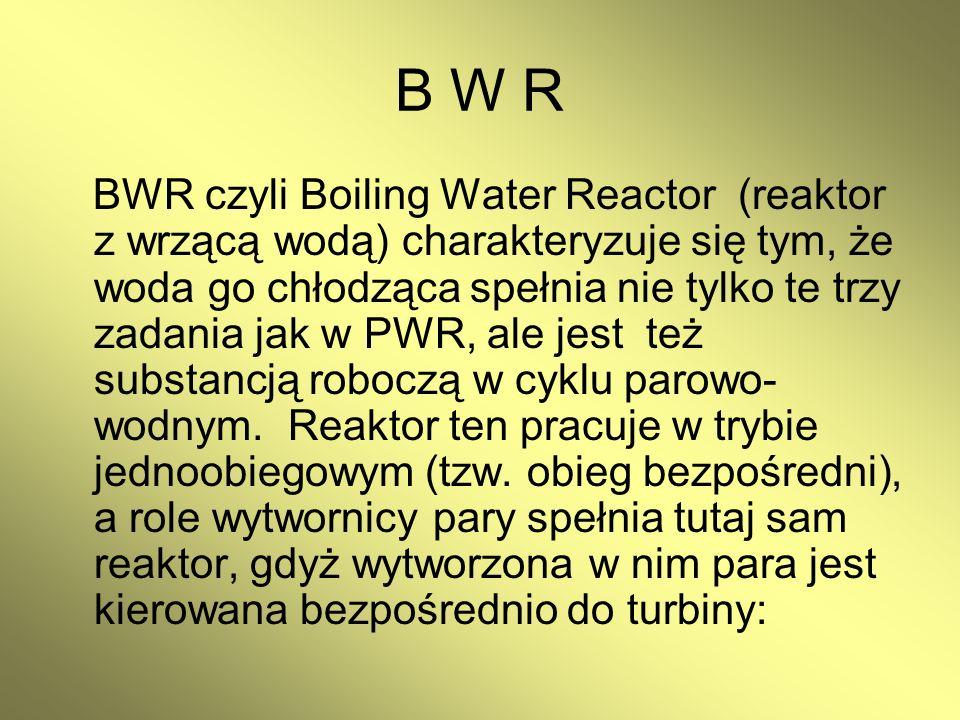 B W R BWR czyli Boiling Water Reactor (reaktor z wrzącą wodą) charakteryzuje się tym, że woda go chłodząca spełnia nie tylko te trzy zadania jak w PWR