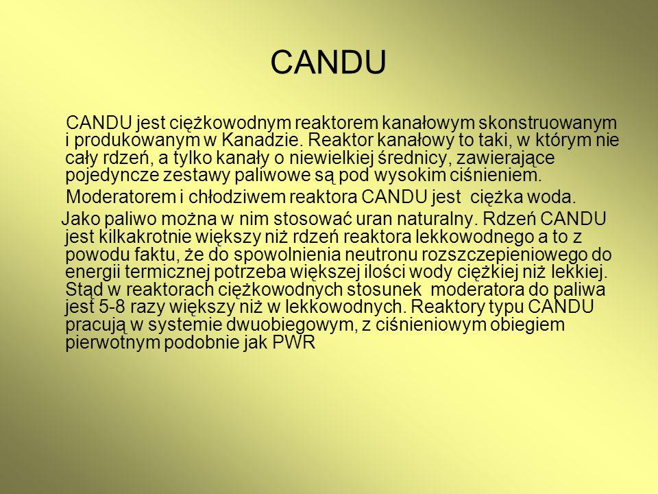 CANDU CANDU jest ciężkowodnym reaktorem kanałowym skonstruowanym i produkowanym w Kanadzie. Reaktor kanałowy to taki, w którym nie cały rdzeń, a tylko