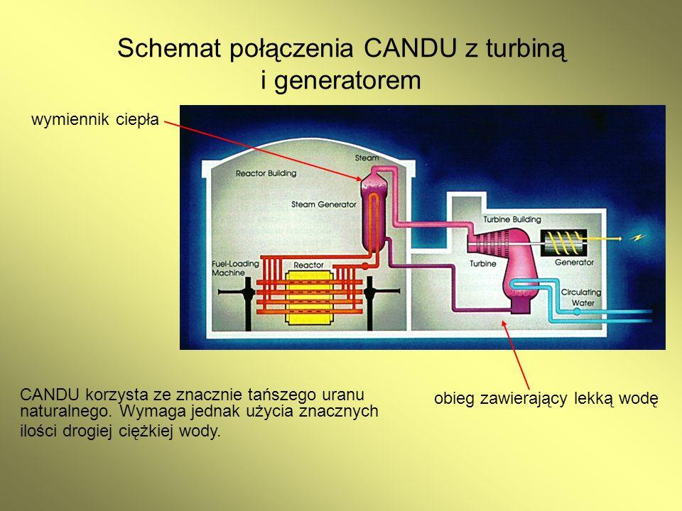 Schemat połączenia CANDU z turbiną i generatorem CANDU korzysta ze znacznie tańszego uranu naturalnego. Wymaga jednak użycia znacznych ilości drogiej