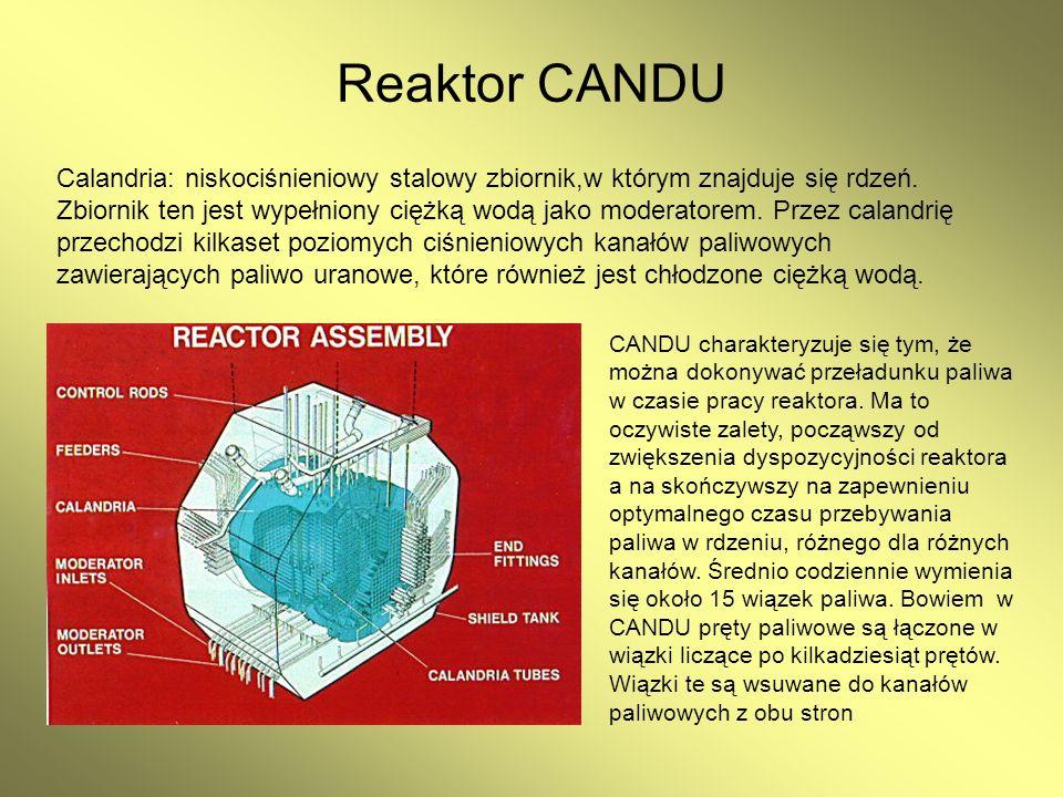 Reaktor CANDU Calandria: niskociśnieniowy stalowy zbiornik,w którym znajduje się rdzeń. Zbiornik ten jest wypełniony ciężką wodą jako moderatorem. Prz