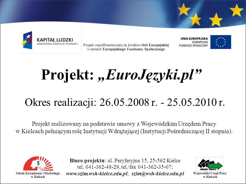Projekt współfinansowany ze środków Unii Europejskiej w ramach Europejskiego Funduszu Społecznego Biuro projektu: ul.