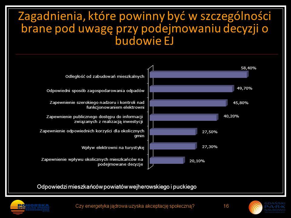 Zagadnienia, które powinny być w szczególności brane pod uwagę przy podejmowaniu decyzji o budowie EJ Odpowiedzi mieszkańców powiatów wejherowskiego i