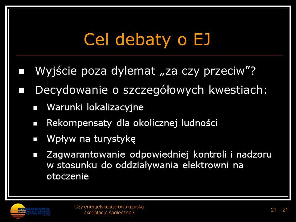Cel debaty o EJ Wyjście poza dylemat za czy przeciw? Decydowanie o szczegółowych kwestiach: Warunki lokalizacyjne Rekompensaty dla okolicznej ludności