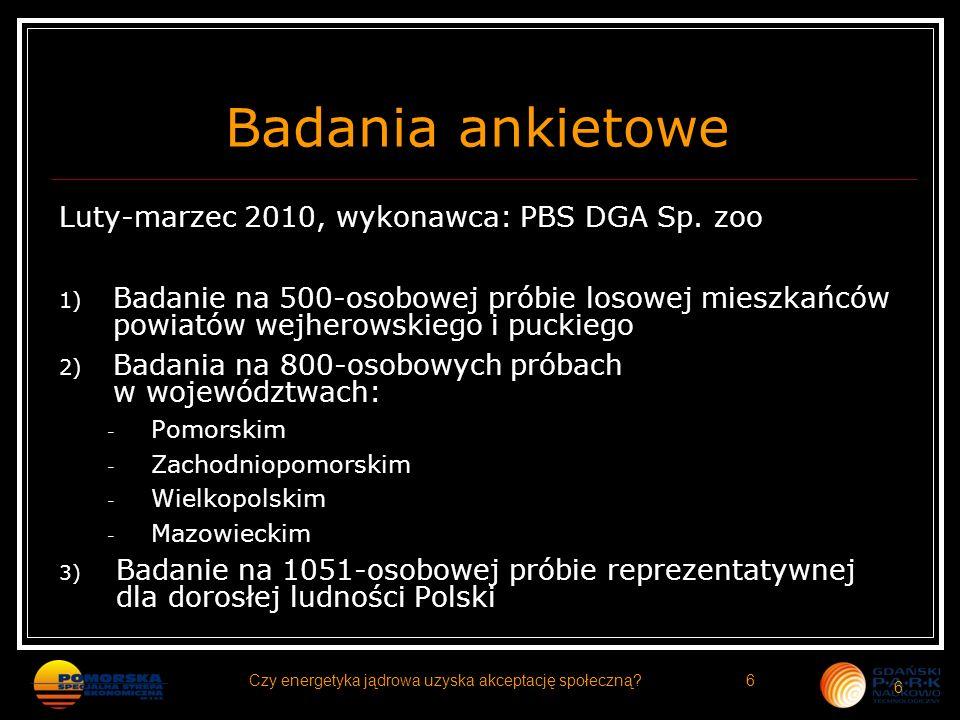 Badania ankietowe Luty-marzec 2010, wykonawca: PBS DGA Sp. zoo 1) Badanie na 500-osobowej próbie losowej mieszkańców powiatów wejherowskiego i puckieg