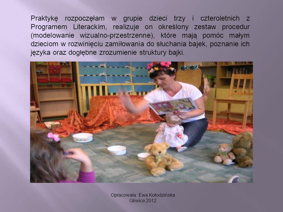 Praktykę rozpoczęłam w grupie dzieci trzy i czteroletnich z Programem Literackim, realizuje on określony zestaw procedur (modelowanie wizualno-przestr
