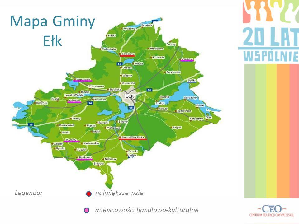 Mapa Gminy Ełk Legenda: największe wsie miejscowości handlowo-kulturalne