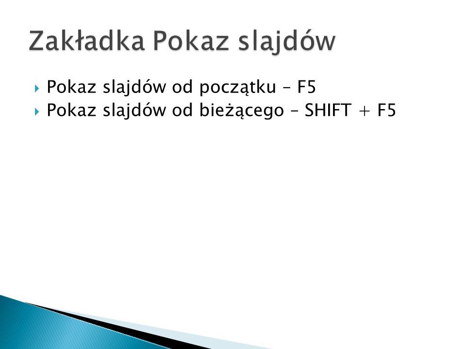 Pokaz slajdów od początku – F5 Pokaz slajdów od bieżącego – SHIFT + F5