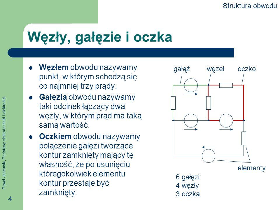 Paweł Jabłoński, Podstawy elektrotechniki i elektroniki 5 Liczba oczek, gałęzi i węzłów Pomiędzy liczbą oczek, gałęzi i węzłów zachodzi zależność g liczba gałęzi, o – liczba oczek, w liczba węzłów.