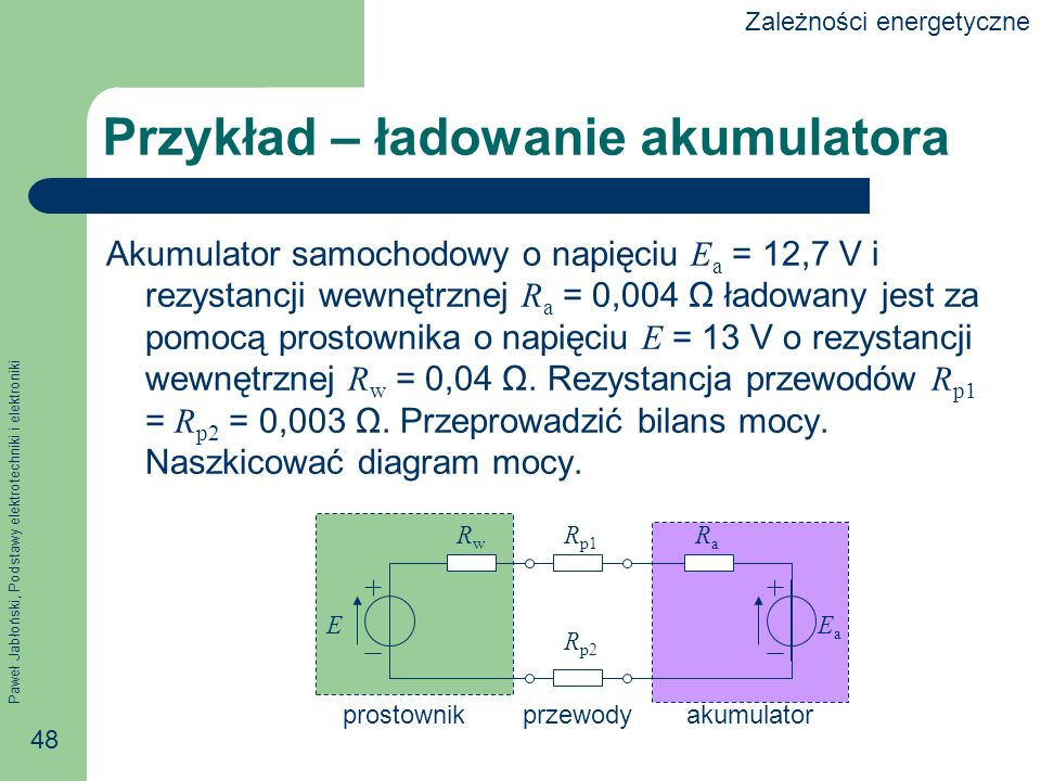 Paweł Jabłoński, Podstawy elektrotechniki i elektroniki 48 Przykład – ładowanie akumulatora Akumulator samochodowy o napięciu E a = 12,7 V i rezystanc