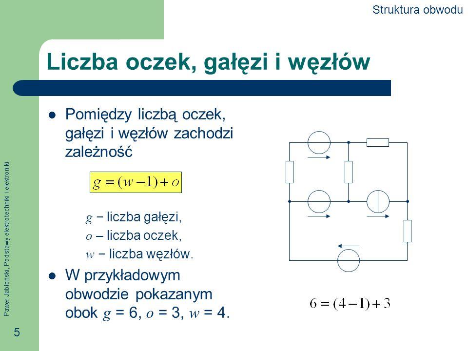 Paweł Jabłoński, Podstawy elektrotechniki i elektroniki 5 Liczba oczek, gałęzi i węzłów Pomiędzy liczbą oczek, gałęzi i węzłów zachodzi zależność g li