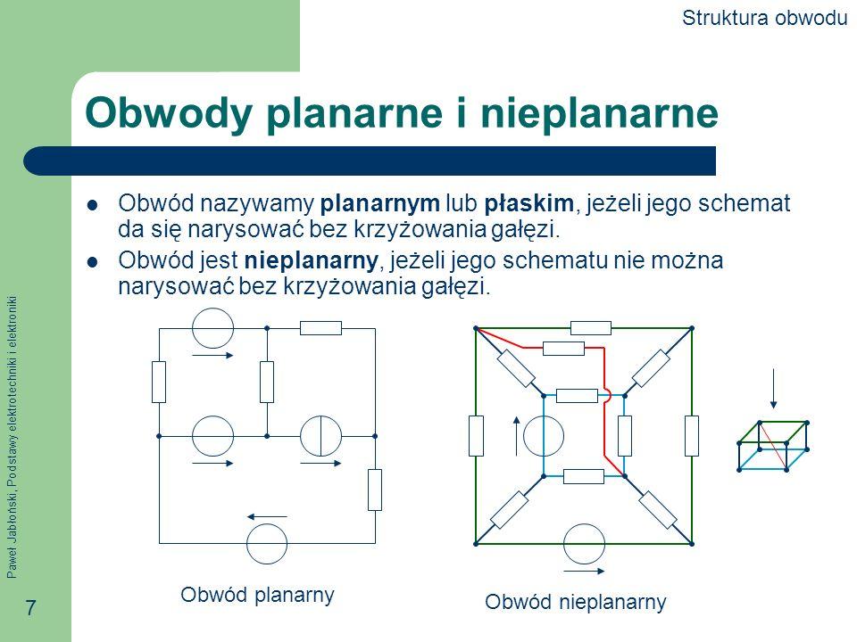 Paweł Jabłoński, Podstawy elektrotechniki i elektroniki 7 Obwody planarne i nieplanarne Obwód nazywamy planarnym lub płaskim, jeżeli jego schemat da s