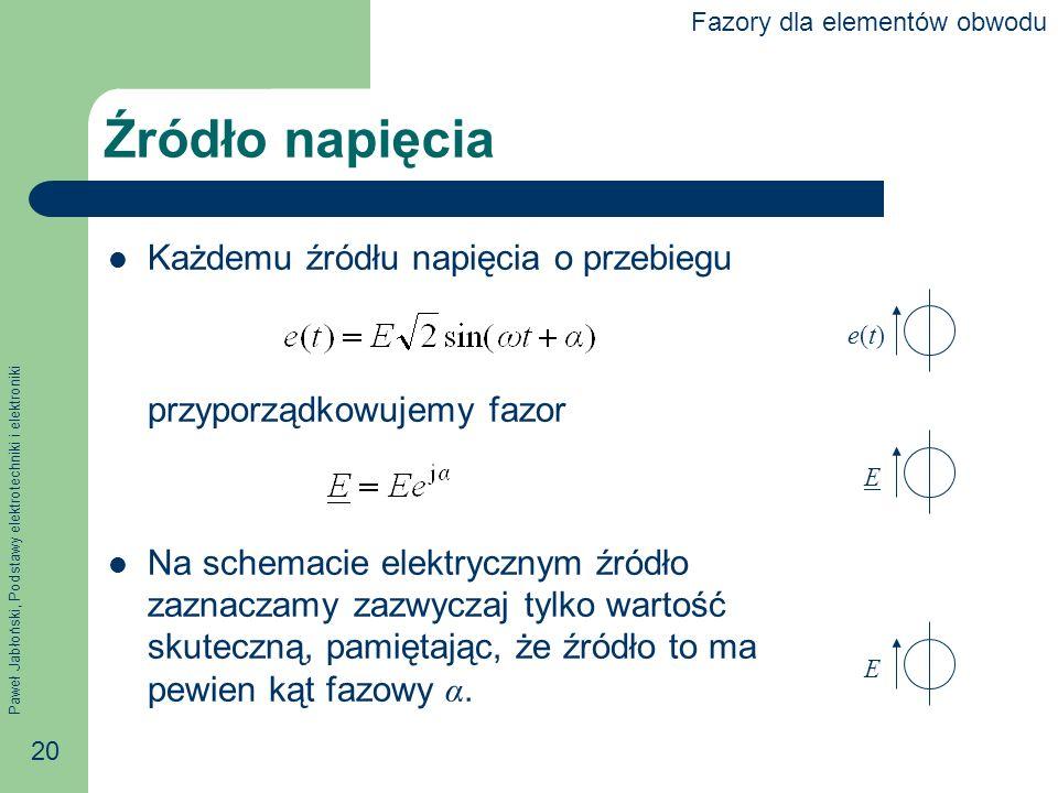 Paweł Jabłoński, Podstawy elektrotechniki i elektroniki 20 Źródło napięcia Każdemu źródłu napięcia o przebiegu przyporządkowujemy fazor Na schemacie e