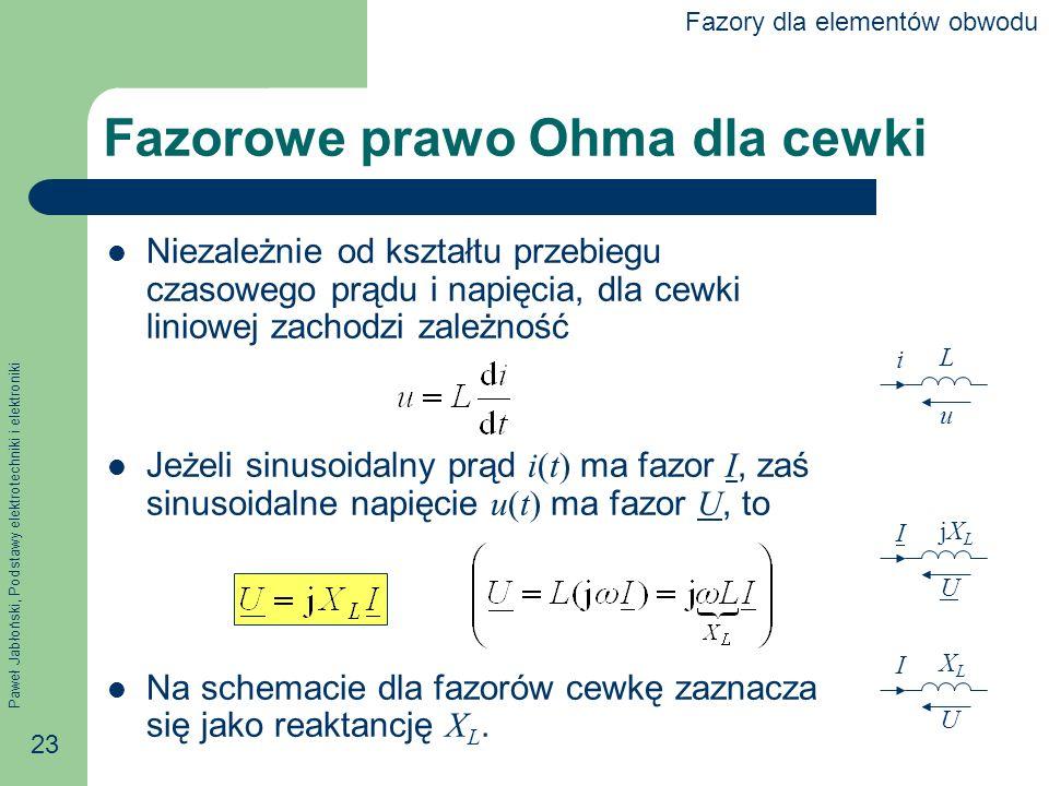 Paweł Jabłoński, Podstawy elektrotechniki i elektroniki 23 Fazorowe prawo Ohma dla cewki Niezależnie od kształtu przebiegu czasowego prądu i napięcia,