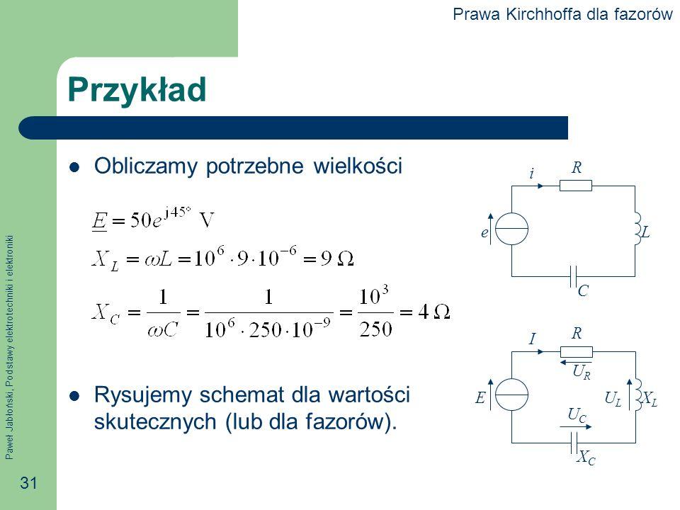 Paweł Jabłoński, Podstawy elektrotechniki i elektroniki 31 Przykład Obliczamy potrzebne wielkości Rysujemy schemat dla wartości skutecznych (lub dla f