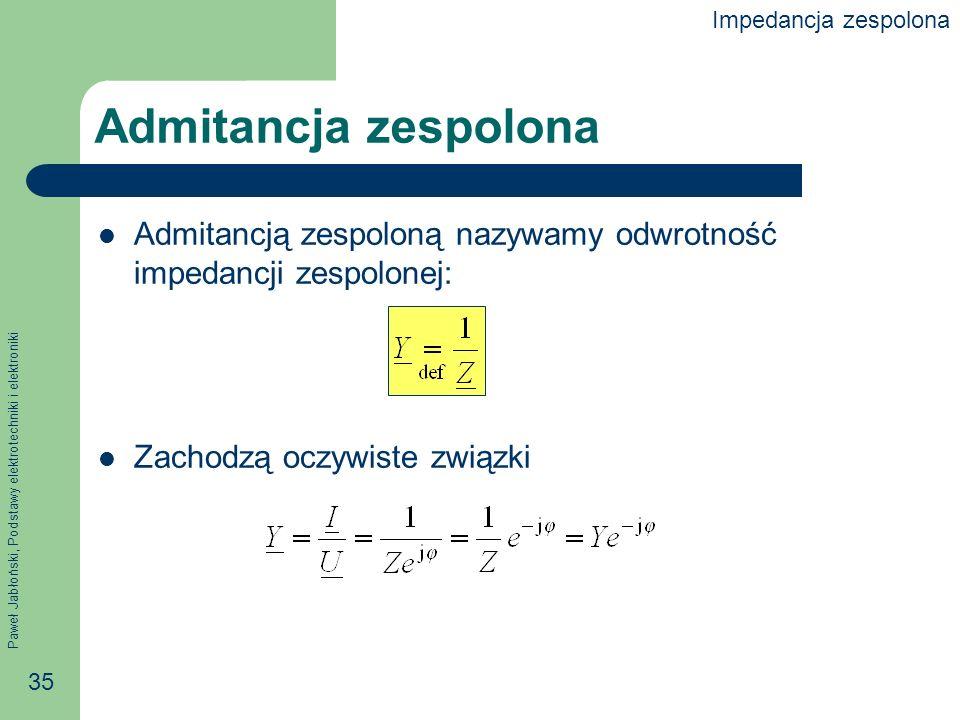 Paweł Jabłoński, Podstawy elektrotechniki i elektroniki 35 Admitancja zespolona Admitancją zespoloną nazywamy odwrotność impedancji zespolonej: Zachod