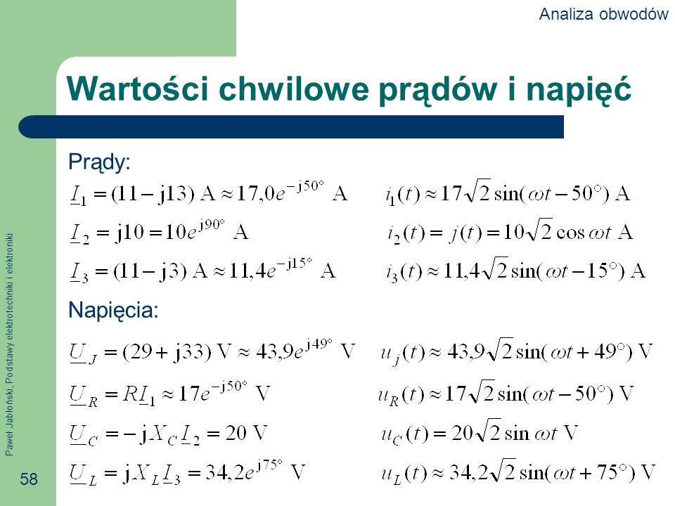 Paweł Jabłoński, Podstawy elektrotechniki i elektroniki 58 Wartości chwilowe prądów i napięć Prądy: Napięcia: Analiza obwodów