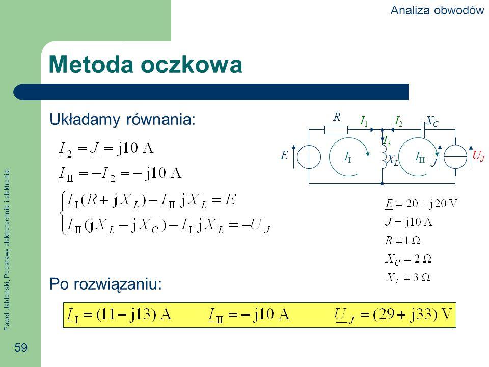 Paweł Jabłoński, Podstawy elektrotechniki i elektroniki 59 Metoda oczkowa Układamy równania: Po rozwiązaniu: R E J XCXC XLXL I1I1 I2I2 I3I3 UJUJ I I I