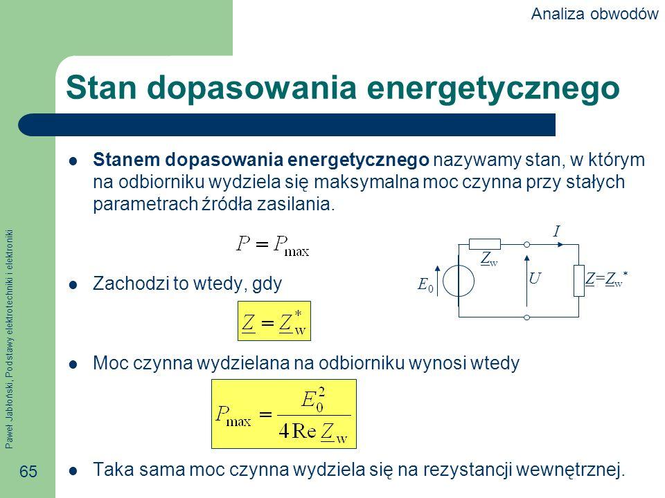 Paweł Jabłoński, Podstawy elektrotechniki i elektroniki 65 Stan dopasowania energetycznego Stanem dopasowania energetycznego nazywamy stan, w którym n