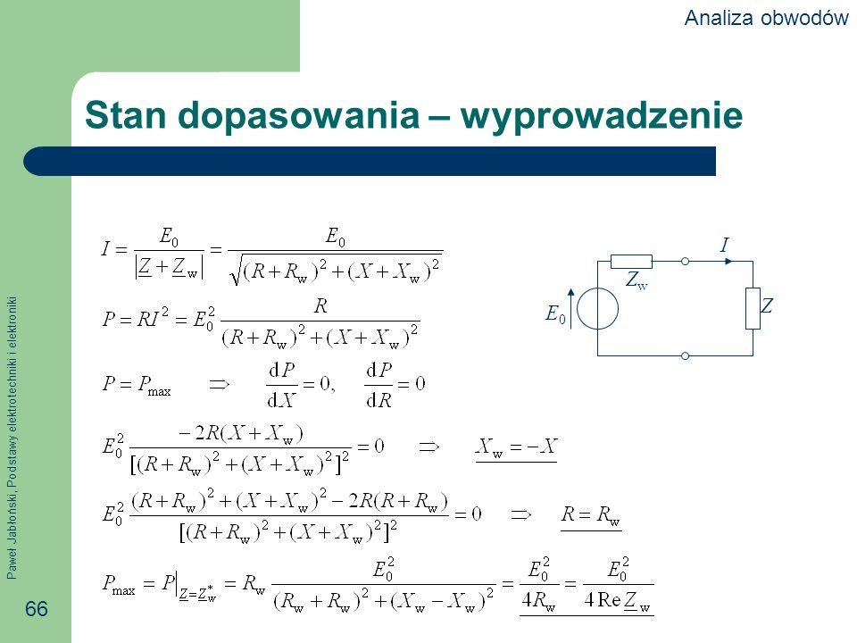 Paweł Jabłoński, Podstawy elektrotechniki i elektroniki 66 Stan dopasowania – wyprowadzenie I Z ZwZw E0E0 Analiza obwodów