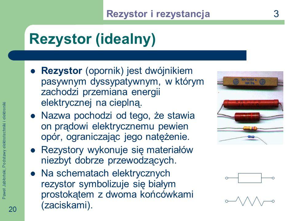 Paweł Jabłoński, Podstawy elektrotechniki i elektroniki 20 Rezystor (idealny) Rezystor (opornik) jest dwójnikiem pasywnym dyssypatywnym, w którym zach