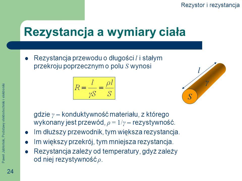 Paweł Jabłoński, Podstawy elektrotechniki i elektroniki 24 Rezystancja a wymiary ciała Rezystancja przewodu o długości l i stałym przekroju poprzeczny