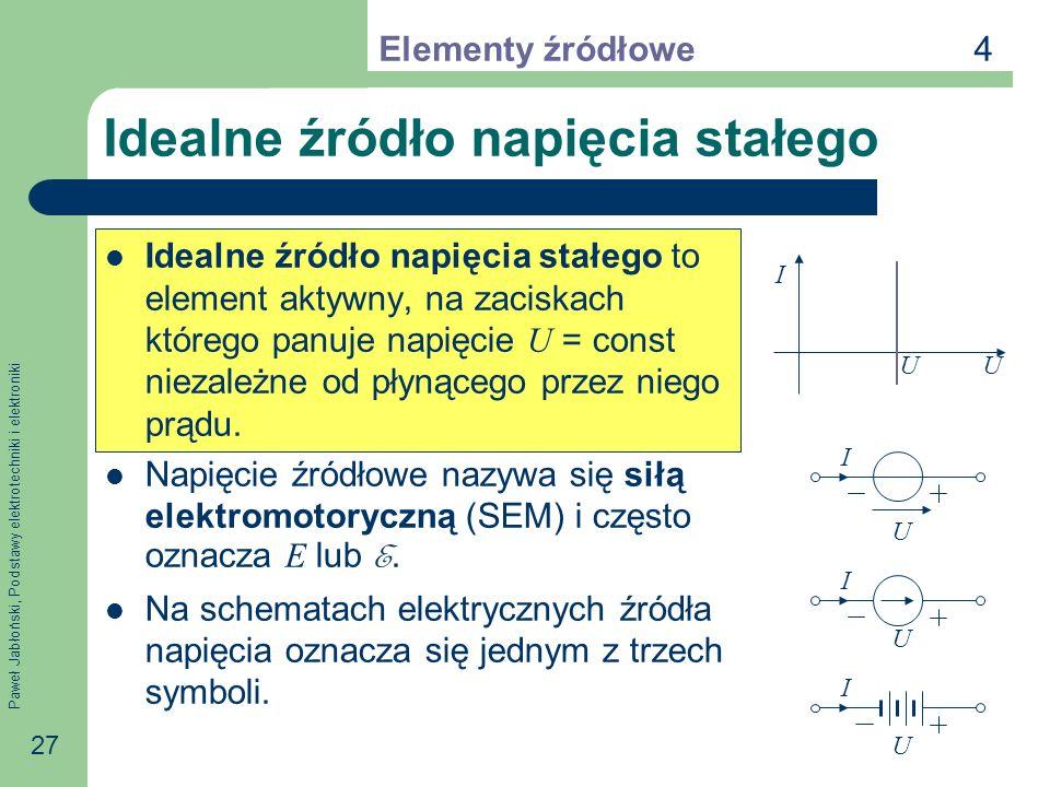 Paweł Jabłoński, Podstawy elektrotechniki i elektroniki 27 Idealne źródło napięcia stałego Idealne źródło napięcia stałego to element aktywny, na zaci