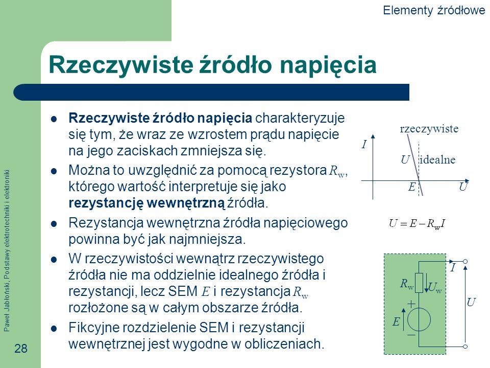 Paweł Jabłoński, Podstawy elektrotechniki i elektroniki 28 Rzeczywiste źródło napięcia Rzeczywiste źródło napięcia charakteryzuje się tym, że wraz ze
