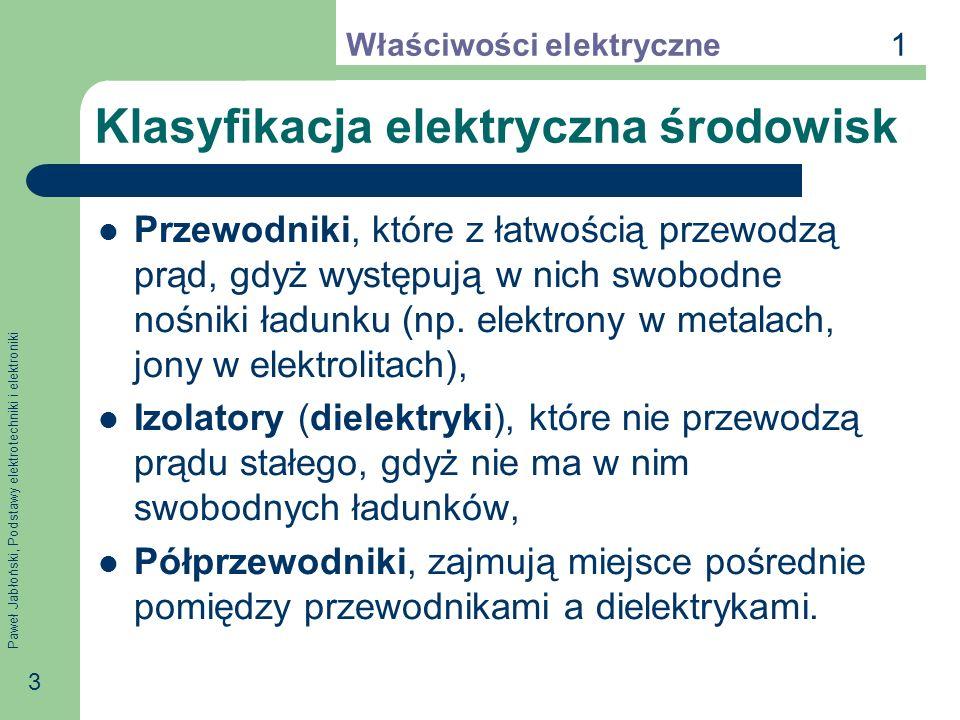 Paweł Jabłoński, Podstawy elektrotechniki i elektroniki 3 Klasyfikacja elektryczna środowisk Przewodniki, które z łatwością przewodzą prąd, gdyż wystę